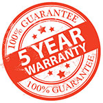 5 year warranty on all heat pumps